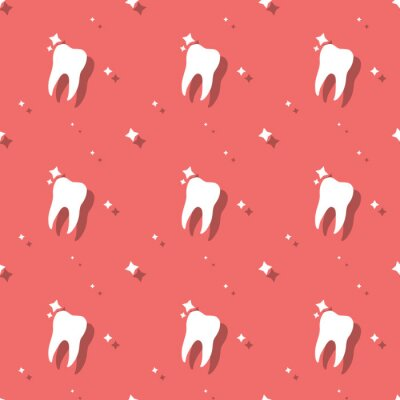 Tapeta Dentist Molar Tooth With Stars Seamless Background