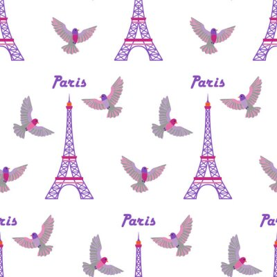 Tapeta Deseń bez szwu haftu w Paryżu