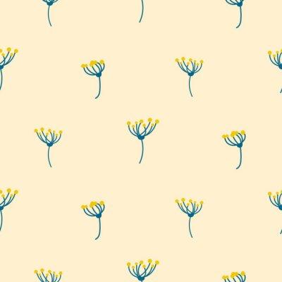 Tapeta Dill kwiat korony abstrakcyjny prosty bez szwu wektora. Niebieskie i? Ó? Te male pola florals na? Wiat? O tle brzoskwini tekstury.