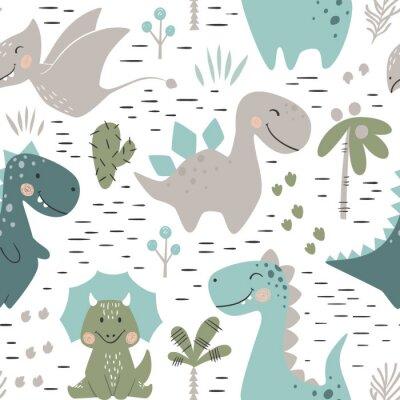 Tapeta Dinosaur chłopiec bezszwowy wzór. Słodki dino z palmą i kaktusem