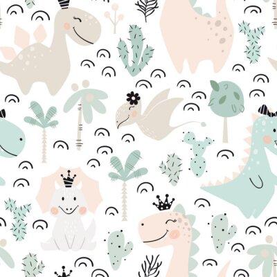 Tapeta Dinosaur dziewczynka bezszwowy wzór. Słodka księżniczka Dino z koroną. Skandynawski ładny nadruk.