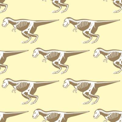 Tapeta Dinozaury szkielety sylwetk? Bezszwowych wzór skamienny kszta? T tyrannosaurus prehistoryczne zwierz? T dino ko? Ci wektora p? Askiej ilustracji.