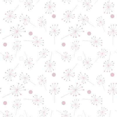 Tapeta Dmuchawiec lub Allium lub koper włoski, jak kwiaty i wzór nasion. Wektor kwiatowy powtarzać bez szwu z prostymi ręcznie rysowane stylizowane kwiaty.