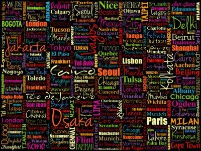 Tapeta Do największych miast na świecie Word chmura kolażu, Miejsca podróży koncepcji tła