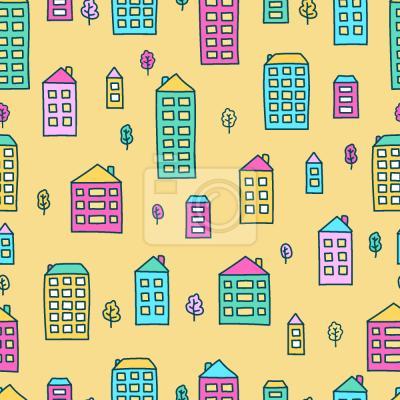 Tapeta Doodle domów