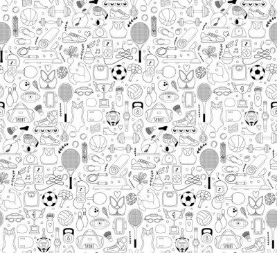 Tapeta Doodle elementy sportowe. Ilustracji wektorowych