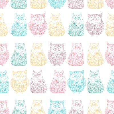 Tapeta Doodle koty i sowy. Wektor bez szwu z ręcznie rysowane ptak i kotka. Śliczne dziecinne tło. Zarys. zwierzęta kolor na białym tle.
