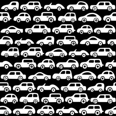 Tapeta Doodle samochodów w tle. Niekończące się tekstury tapety, wypełnienia, tło strony internetowej, tekstury powierzchni.