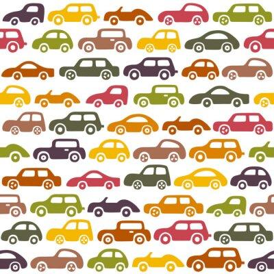Tapeta Doodle samochodów w tle. Wzór może być stosowany do tapety, wzór wypełnienia tła strony internetowej, tekstury powierzchni.