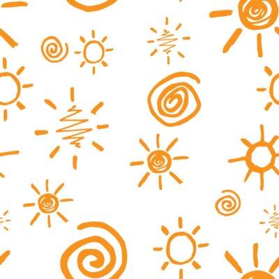 Tapeta Doodle słońca w kolorze czarnym na białym tle. Bez szwu deseń.