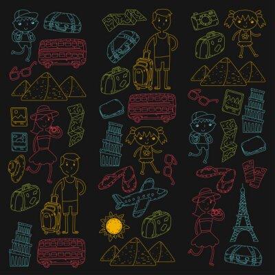 Tapeta Doodle wektor zestaw Podróż, wakacje, przygoda. Dzieci z rodzicami Przygotowanie do podróży. Przedszkole, szkolne letnie wakacje Rysowanie dzieci