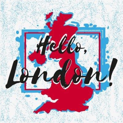 Tapeta Drukuj z napisem o Londynie z niebieskimi czerwonymi plamami farby w kształcie kraju Wielka Brytania na szarym rozproszeniu. Wzór tkanin tekstylnych, odzieży, koszulek, transparentów. Ilustracji wekto