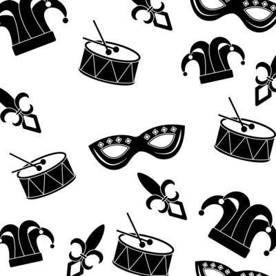 Tapeta drum mask arlekin kapelusz fleur de lis karnawał akcesorium wzór obrazu wektorowe ilustracja projektowe czarnym i