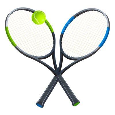 Tapeta Dwie rakiety tenisowe z piłką. Atrybuty sportowe. Ilustracji wektorowych