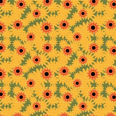 Tapeta Dzianiny wzór słonecznika. Ilustracji wektorowych.