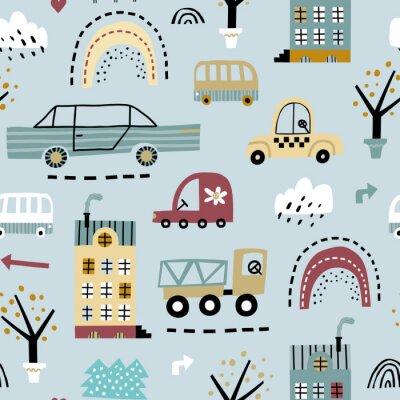 Tapeta Dziecięcy bezszwowy wzór z budynkami, drogą, transportem, abstrakcjonistycznymi drzewami. Tekstura wektor w dziecinnym stylu doskonale nadaje się do tkanin i tekstyliów, tapet, tła. Dziecięca tekstura