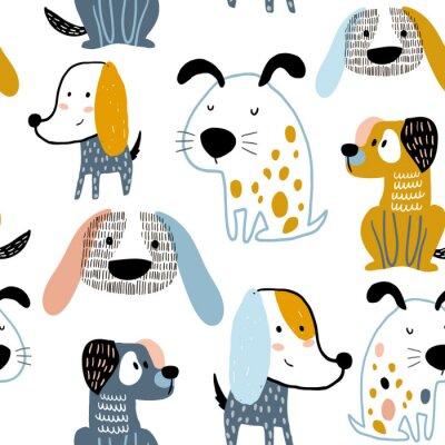 Tapeta Dziecięcy bezszwowy wzór z śmiesznymi kreatywnie psami. Modny skandynawski tło wektor. Idealny do odzieży dziecięcej, tkanin, tekstyliów, dekoracji dziecinnych, papieru do pakowania