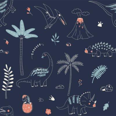 Tapeta Dziecinna wzór z ręcznie rysowane dino w stylu skandynawskim. Twórczy wektor dziecięcy tło dla tkanin, tekstyliów, odzieży i nie tylko