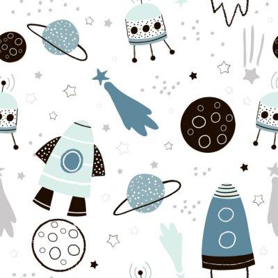 Tapeta Dziecinna wzór z ręcznie rysowane elementy przestrzeni kosmicznej, rakieta, gwiazda, planety, sondy kosmicznej. Modny tło wektor dzieci.