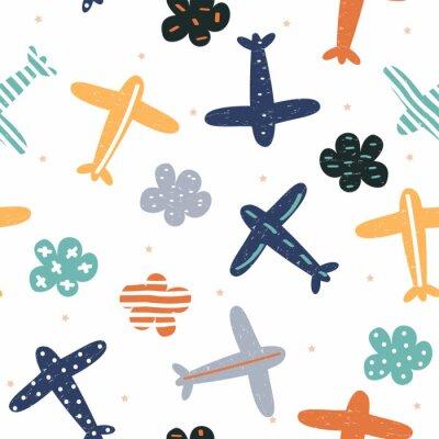 Tapeta Dziecinna wzór z samolotów i chmur. Drukuj słodkie dzieci. Wektorowa ręka rysująca ilustracja.