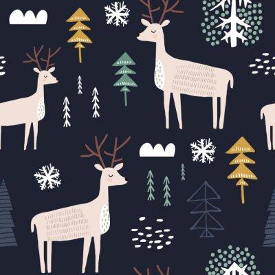Tapeta Dziecinny wzór z kochanymi. Modny skandynawski wakacje wektor tle. Idealny do odzieży dziecięcej, tkanin, tekstyliów, dekoracji dziecinnych, papieru do pakowania
