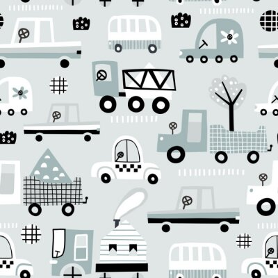 Tapeta Dziecko bezszwowy wzór z ślicznym samochodem. Idealny do tkanin dziecięcych, tekstylnych, tapet dziecięcych. Ilustracja wektorowa.