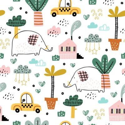 Tapeta Dziecko bezszwowy wzór z ślicznymi słoniami, samochodami, chmurami i tropikalnymi roślinami. Tekstura wektor w dziecinnym stylu doskonale nadaje się do tkanin i tekstyliów, tapet, tła. Pastelowe kolor