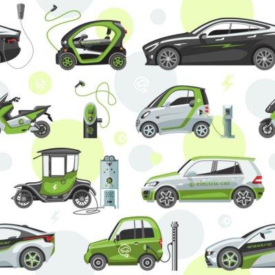 Tapeta Elektryczny wektorowy samochód z panel słoneczny eco transportu electro ilustracją samochodu nasadki ładowarki elektrycznej samochodowego bezszwowego wzoru tło