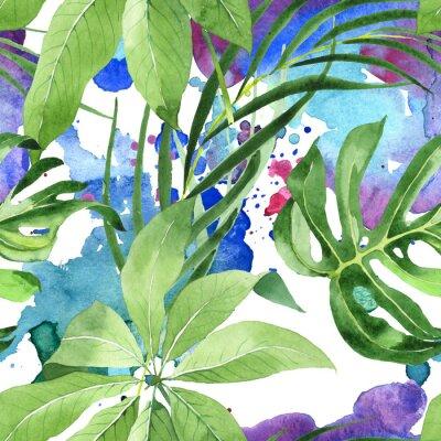 Tapeta Exotic tropical hawaiian summer. Watercolor background illustration set. Seamless background pattern.