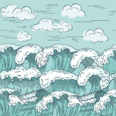Tapeta Fal morskich wzór. Ręcznie rysowane tła ilustracji wektorowych