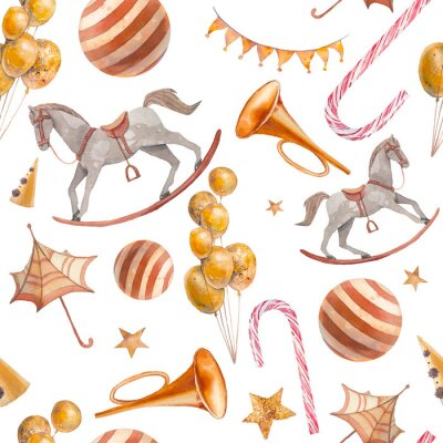 Tapeta Festive seamless pattern. Hand drawn wallpaper design: rocking horse, flags garland, balls, candy, pipes, air balloons.Party items on white background.