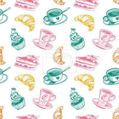 Tapeta Filiżanka kawy ciastka i croissant