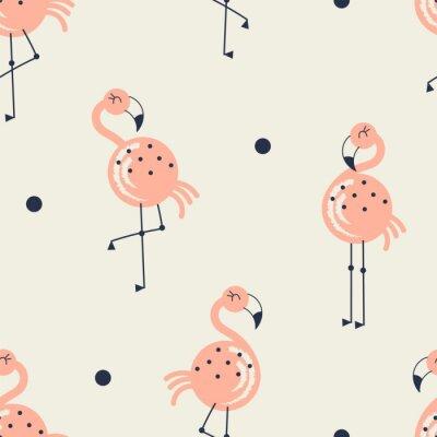 Tapeta Flamingo ptak wzór na neutralnym tle, letnie tkaniny dla dzieci i przedszkola tkanina drukuj tekstylne