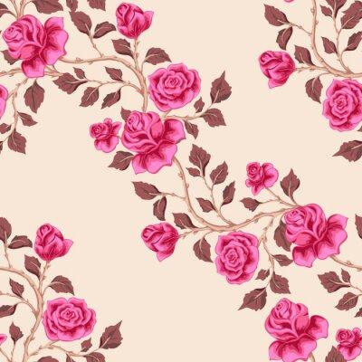 Tapeta Floral bez szwu deseń z róż różowy. Odgałęzienia ukośne z kwiatami. Ilustracji wektorowych dla tkanin, drukowania, tapety, opakowania.