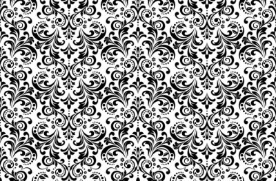 Tapeta Floral pattern. Vintage wallpaper in the Baroque style. Seamless vector background. White and black ornament for fabric, wallpaper, packaging. Ornate Damask flower ornament