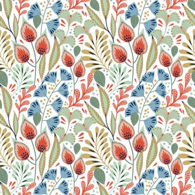 Tapeta Floral seamless pattern on white. Abstract vector background with flowers and leaves. Natural bright design. Scandinavian style.