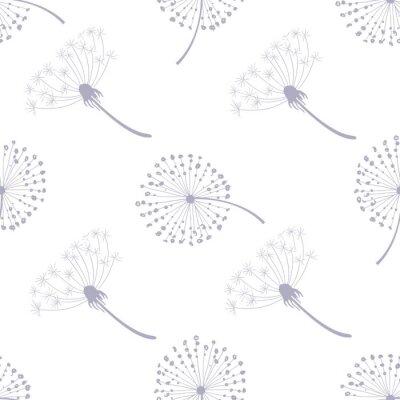 Tapeta Floral Seamless Pattern with Dandelions, Flying Dandelion Seeds on Wind Vector Illustration