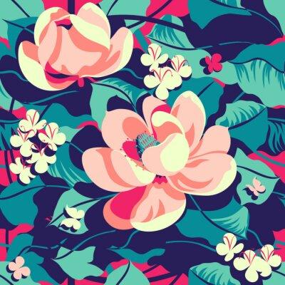 Tapeta Floral tropical pattern. Handmade drawing vector illustration.
