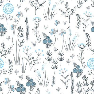 Tapeta Floral wektora bez szwu deseń z dzikiej ziół, kwiaty lasu i liści. Vintage botaniczne tło. Wyciągnąć rękę naturalnej łąki trawy.