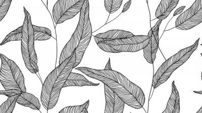 Tapeta Foliage seamless pattern, eucalyptus leaves line art ink drawing in black on white
