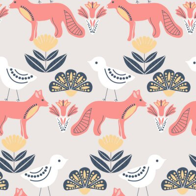 Tapeta folk art birds and foxes in a scandinavian pattern design