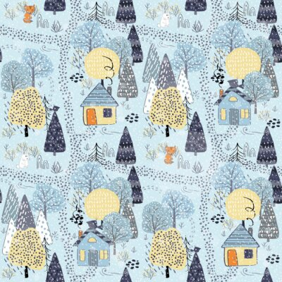 Tapeta Forest seamless pattern background with winter trees.