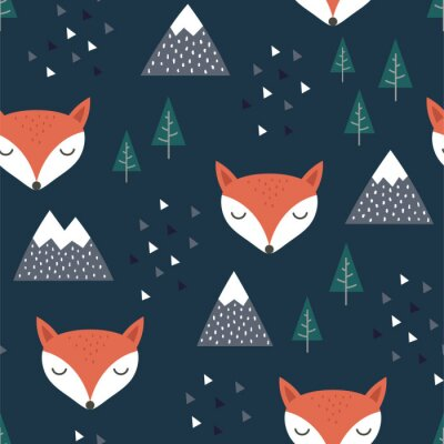 Tapeta Fox Seamless Pattern Background, Scandinavian Happy cute fox in the forest between mountain tree and cloud, cartoon fox vector illustration for kids nordic background with triangle dots