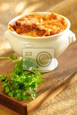 Tapeta Francuska Zupa Cebulowa Tradycyjne Jedzenie Kuchnia Francuska