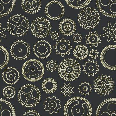 Tapeta Gear cogwheels dark background. Vector seamless pattern