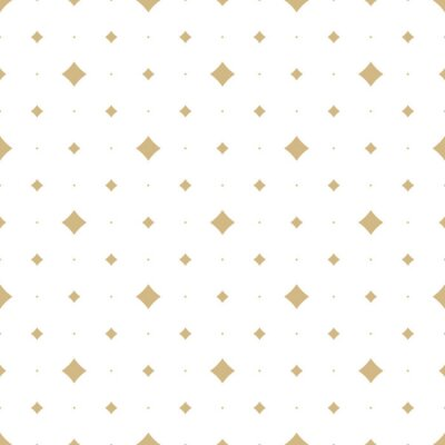 Tapeta Gold and white vector seamless pattern with small diamond shapes, stars, dots