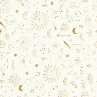 Tapeta Gold foil pattern with cute hand drawn sun, planet, moon star. Mystic solar design. Vector illustration.