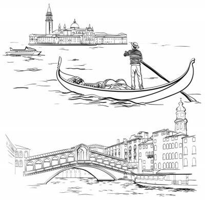 Tapeta Gondolier w pobliżu wyspy Lido, most Rialto, Wenecja