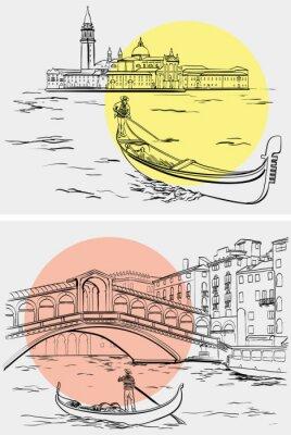 Tapeta Gondoliers w pobliżu mostu Rialto, wyspa Lido, Wenecja