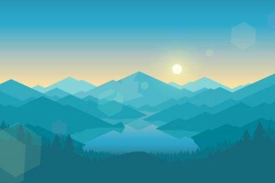 Tapeta góra wektorowych i Forrest krajobraz wcześnie rano.
